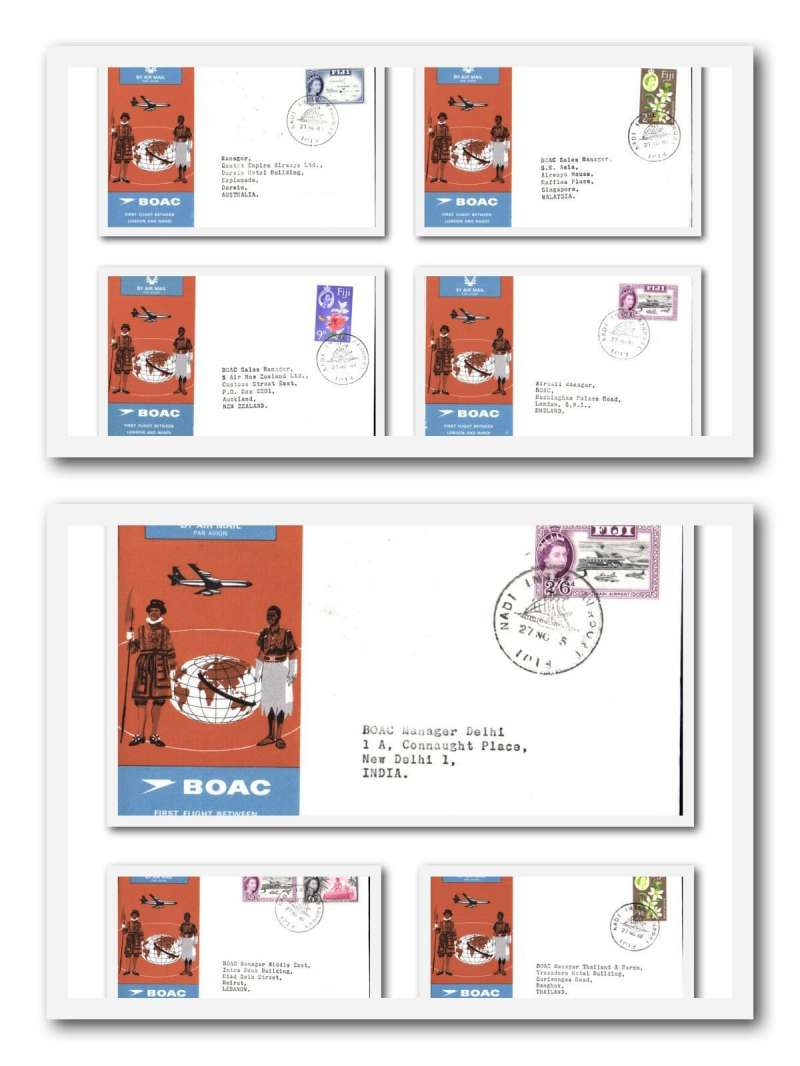 (Collections) Fiji 1965 BOAC first flights London to Fiji, six inward and 5 outward souvenir covers, no duplication. See scans to identify origins and destinations .