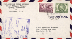 (Australia) First flight airmail cover Australia - Hawaii bs.