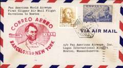 (Spain) First flight airmail cover Barcelona to Boston bs.