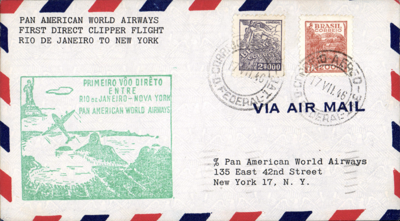 (Brazil) First flight airmail cover Rio to NY bs.