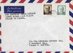 (Czechoslovakia) First clipper flight airmail cover Prague to Vienna bs.