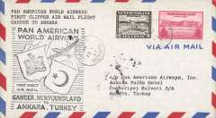 (Newfoundland) First clipper flight airmail cover Gander to Ankara bs.