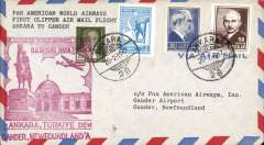 (Turkey) First clipper flight airmail cover Ankara to Gander, Newfoundland, bs..