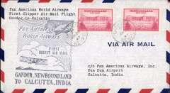 (Newfoundland) First clipper flight airmail cover Gander to Calcutta, NY bs.