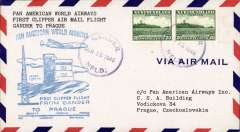 (Newfoundland) First clipper airmail flight Gander to Prague, bs.