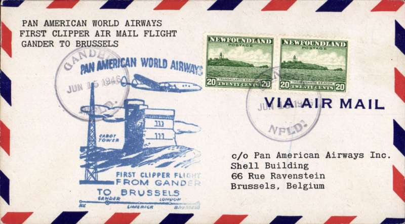 (Newfoundland) First clipper airmail flight Gander to Brussels, bs.