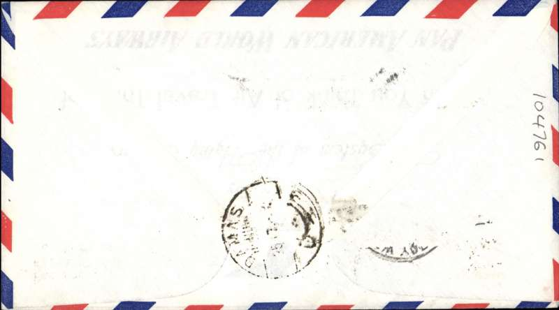 (United States) First clipper airmail flight NY to Damascus, bs.