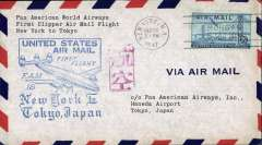 (United States) First clipper airmail flight NY to Tokyo, bs.