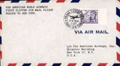 (Czechoslovakia) First clipper airmail flight Prague to NY, bs.