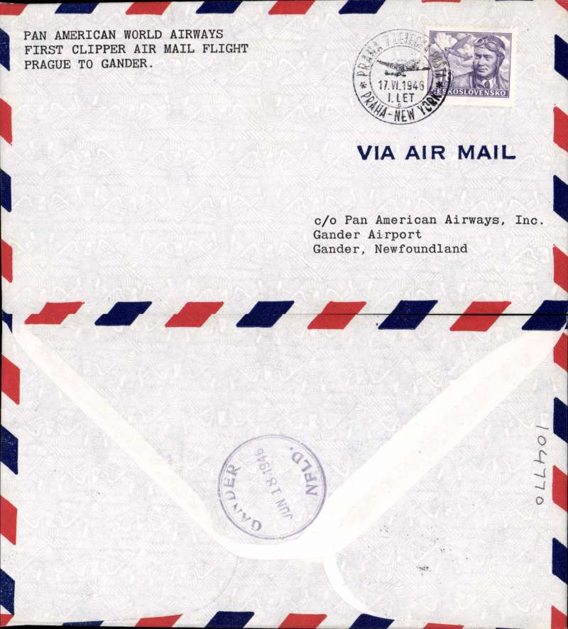 (Czechoslovakia) First clipper airmail flight Prague to Gander, Newfoundland, bs.