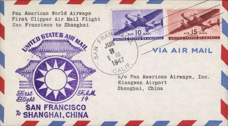 (United States) First clipper airmail flight San Francisco to Shanghai, bs.