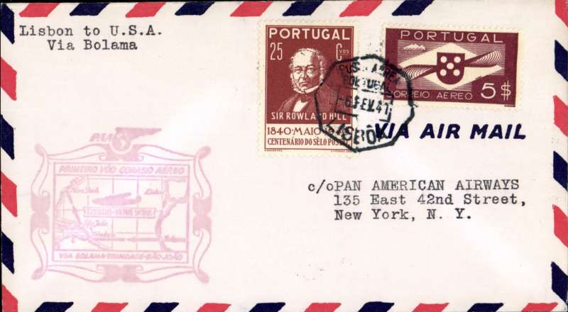 (Portugal) First clipper airmail flight Lisbon to NY, bs.