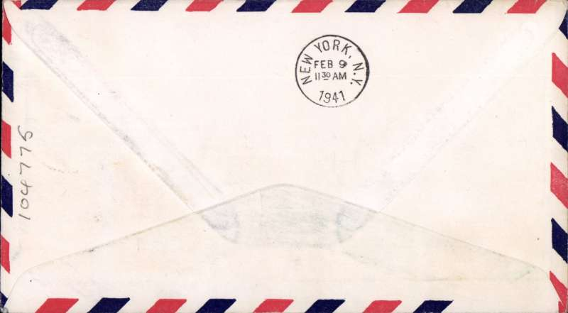 (Portuguese Guinea) First clipper airmail flight Bolama to NY, bs.