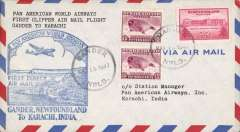 (Newfoundland) First clipper airmail flight Gander, Newfoundland to Karachi, bs