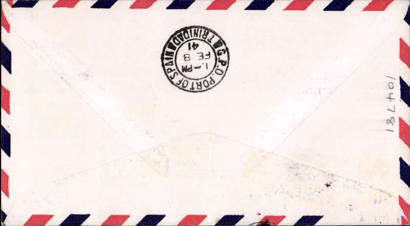 (Portuguese Guinea) First clipper airmail flight Bolama to Trinidad, bs