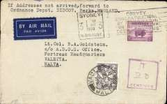 (Australia) Australia to Malta, underpaid airmail cover Sydney to Valetta, bs 1/5, also Malta 2d PD canc Valetta cds on front with magenta framed 'T/ms 20/' unpaid hs.