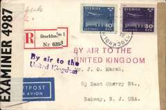 (Sweden) World War II, dual censored Swedish AeroTransport (ABA) military first flight Stockholm to New York, bs 12/5, via Perth, Scotland, registered (label) airmail cover franked 60 ore, violet  and red 'By Air to the/United Kingdom' hs's, sealed plain brown, and PC 90 EB 4987 censor tapes. See Boyle pp 367,8.