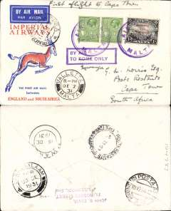 (Malta) Great airmail cover to South Africa bs Cape Town 2/2/32, via Brindisi 10/12, Mwanza 18/12 and Dar Es Salaam 23/12, Springbok cover endorsed 'First Flight to Cape Town', franked 1/1d at Valetta, then hand stamped with boxed 'By Air/To Rome Only' Jusqu'a cachet and 'Rome' changed by 'ms' to 'Mwanza'. Carried by IAW flight #AS41 from Brindisi on 11/12 to Mwanza on 18th then by rail to DES and on by sea to Cape Town. Superb routing and transit marks.