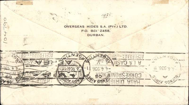 (South Africa) Airmail cover Durban to Argentina, bs Buenos Aires 4/4, via Marseilles Gare 25/3, franked DOUBLE RATE 10/-, typed 'By Airmail Via Dakar Paris Pernambuco to Buenos Aires', IAW AN326/Air France 41R.