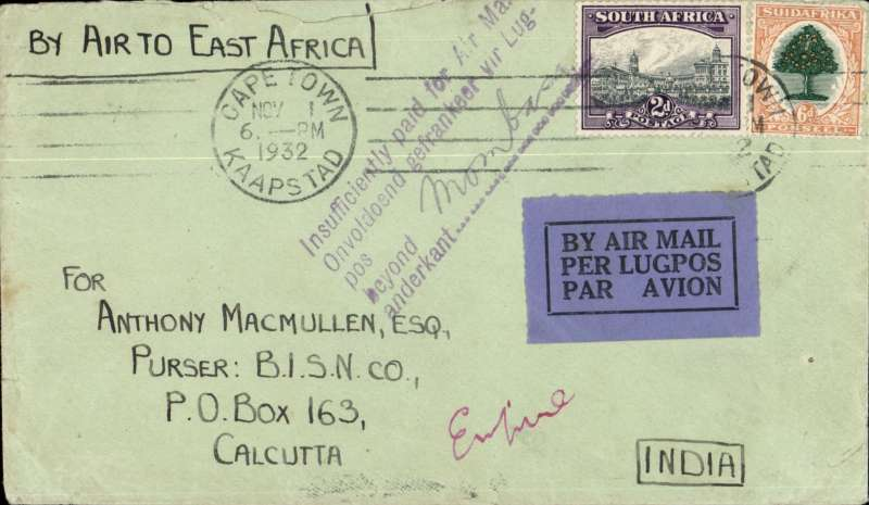 (South Africa) Interesting airmail cover South Africa to Calcutta, bs 21/11, via Nairobi 5/11, franked 8d at Cape Town, ms 'By Air To East Africa' and scarce five line bilingual handstamp 'Insufficiently paid for airmail BEYOND MOMBASSA. '. Flown IAW #AN87 from Cape Town to Mombassa 2/11 then surface beyond.