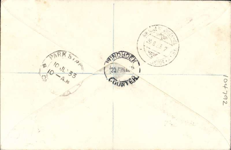 (South West Africa) South West Africa acceptance for India for carriage on the FIRST flight Karachi to Calcutta, bs 10/7, registered (hs) cover addressed to Wyndham correctly rated 1/3d airmail + 4d registration fee at Windhoek 20/6 , black framed 'Karachi-Calcutta/7 Jly 33/First Airmail' flight cachet on front.