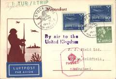 (Sweden) World War II, censored Swedish AeroTransport  (ABA) military first flight Stockholm to Perth, Scotland, private cream/brown souvenir card addressed to Francis Field franked 25 ore, green '1:Tur/1:Trip' hs, violet 'By air to the/United Kingdom', red hexagonal 'crown/PASSED' UK censor mark. See Boyle pp 367,8.