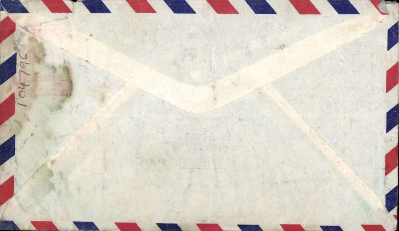 "(Recovered/Salvaged Mail) BOAC COMET Jet Liner DH 106 crash on take off from Dum Dum airfield, Calcutta, on a flight from Hong Kong to London, imprint airmail etiquette cover, franked $1 HK stamp, fine strike violet cachet ""SALVAGED MAIL/Comet  Crash, Near Calcutta/2nd. MAY 1953"", fine."