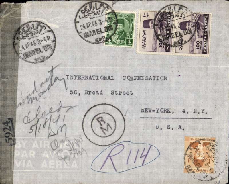 (Egypt) Early post war airmail double rate censored cover Cairo to New York, bs 17/5, via Miami 15/5, franked 205ml (overseas letter 22ml+ 32ml regn + 2x 75ml/5gm air fee, sealed  New York censor tape even thogh entered through Miami.