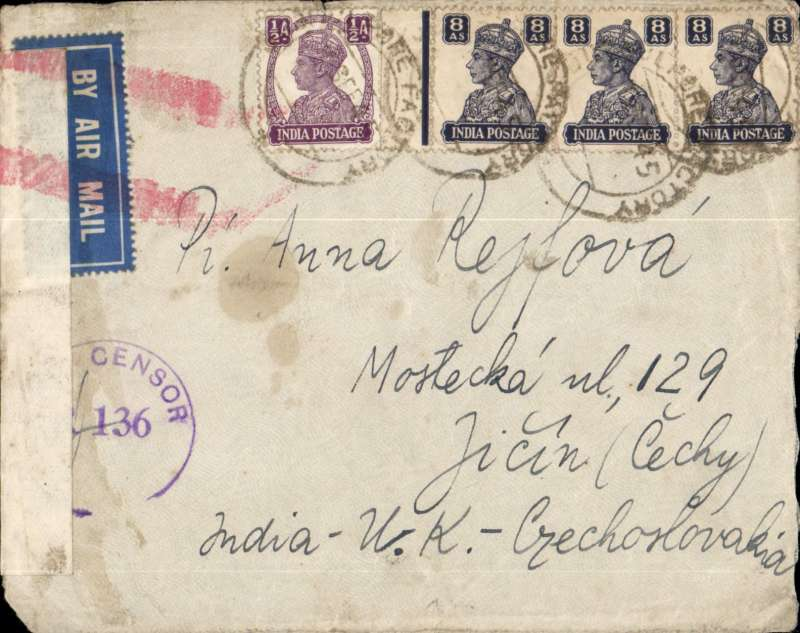 (India) India to LIBERATED CZECHOSLOVAKIA via UK, airmail cover addressed to Jicin (Czech) franked India 24 1/2 annas in Lahore, Indian PC 90 censor seal tied hexagonal Crown/Passed/DHB/4 = Karachi, also initialled ? Military  ***Censor/**136 partially hidden by censor seal. On 5 May 1945, in the last moments of the war in Europe, the Prague uprising (Czech: Prazske povstani) began. It was an attempt by the Czech resistance to liberate the City of Prague.