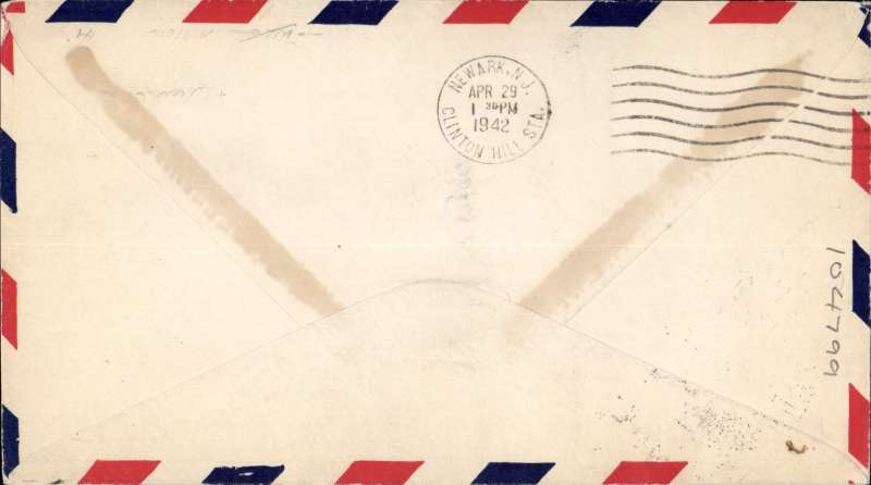 (Liberia) Addition of Fisherman's Lake, attempted FFC by FAM 22 from Fisherman's Lake to New Jersey, airmail cover franked Liberia 50c on 10c airmail, large 75mm diameter cachet 'FIRST FLIGHT/LIBERIA-US' (the return of a flight from Miami on 9 February). Bt then the US War Department had forbade carrying of FFC's so probably sent by ship. or illustration and background. See American Air Mail Catalogue 6th edition, Vol 3(2004), p266.