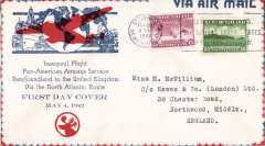 (Newfoundland) Resumption of Pan American northern route to the UK, uncensored attractive printed red/white/blue souvenir cover for resumption of service, franked 35c. See American Air Mail Catalogue 6th edition, Vol 3(2004), p199.