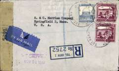 (Palestine) Censored registered (label) airmail cover Tel Aviv to US, bs NY 23/11, Springfield 24/11, franked 115 mils (100 mils/1/2 oz + 15 mils registration), US New York censor seal, even though entering via Miami.