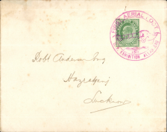 (India) First Aerial Post, Allahahbad to Naini Junction, and on to Lucknow bs 20/2, 'United Provinces Exhibition' cover franked KE VII 1/2d, canc very fine circular magenta Exhibition postmark, fine.  Great item.