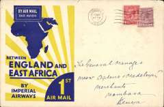 (GB External) Imperial Airways, first airmail England to Africa, London to Mombasa 12/3 via Kisumu 8/3, official blue/yellow/cream 'Rising Sun' souvenir cover, franked 7d, canc London FS/Air Mail cds. Scarce souvenir cover sent to a limited number of British businesses that had dealings with East Africa. Written up on album leaf with map of route. Also a flight publicity letter from the IAW managing director on yellow/cream company notepaper.