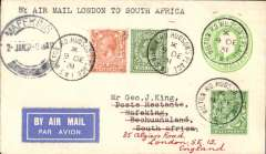(GB External) Imperial Airways Christmas flight to BECHUANALAND, bs Mafeking 22/12 via Johannesburg 21/12 , franked 1/- at Hudson Place, London. A rare cover in very fine condition.