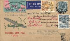 """(GB Internal) BASUTOLAND acceptance of mail for carriage on the Highland Airways F/F Inverness to Kirkwall, scarce Type 1 """"Orcadian Envelope"""" correctly franked 10d canc fine 'Kirkwall/11.15am/29 MY 34' scarce imperforate red/green/black oblong rectangular vignette. By air Kirkwall-Inverness, train to London, IAW flight AS 170 to Jo'burg, surface to Maseru, arrival ds on front, and redirected to Leribe, arrival 13/6. Orcadian F/F covers are SCARCE; Type 1 vignettes on F/F covers are RARE; and such covers carried to Basutoland are EXTREMELY RARE. The cover is in fine condition."""