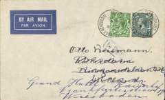 (GB External) Night airmail, London to Weisbaden, Germany imprint airmail etiquette cover franked 1/2d and 4d, each stamp canc fine strike CROYDON AERODROME/12 Jun 30/Croydon' cds.