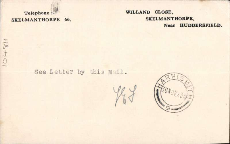 (GB External) First acceptance of mail for South Africa, bs Harrismith 30/1, from London at the new 3d Flat Rate for post cards, airmail etiquette PC, typed 'By First Flight on the/African Route at Flat/Rates for Empire/Destinations', initialled by Francis Field verso.