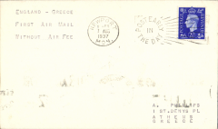 "(GB External) Imperial Airways F/F without additional air fee, London to Athens, b/s 11/8, correctly rated 2 1/2d , plain cover,  typed endorsement ""England-Greece First Air Mail Without Air Fee""."