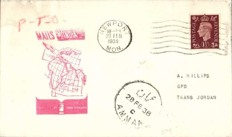 "(GB External) F/F Second Stage EAMS, London to Amman, Trans Jordan, bs 27/2, red ""Mails India"" map cachet, Imperial Airways."