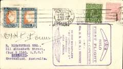 (Australia) Mrs Bonney flight, Brisbane to Cape Town flight, franked Australia 2d canc Brisbane 8/4, arrived Cape Town where South Africa stamps were applied and cancelled by Cape Town/Kaapstad 19/8 cds, fine large souvenir cachets verso, signed Mrs HB Bonney on front.