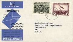 (Belgium) Scarce first acceptance of mail from Belgium for USA for carriage on the inaugural Imperial Airways trans Atlantic service from London to New York, bs 6/8, OFFICIAL black/blue/grey souvenir cover franked 1930 2F ar x2, 35c ordinary, canc Brussels 4/8 cds. Only 25 official covers flown.