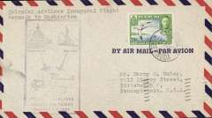 (Bermuda) Scarce First Scheduled Flight  Hamilton to WASHINGTON, b/s 2/8, violet rectangular cachet, Colonial Airlines. #47.10 WJ Clark, 1990, cat $100.00.