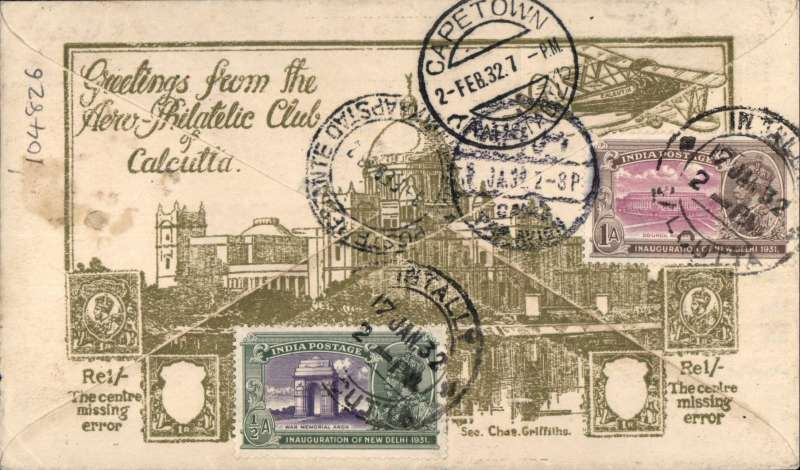 (India) Imperial Airways, Calcutta to Cape Town, bs 2/2, first acceptance of mail from India to South Africa, for carriage on IAW westbound service from Karachi-Cairo (transit cds verso), then from Cairo on F/F Imperial Airways Regular Service from London to Cape Town.  Aerophilatelic Philatelic Club of Calcutta cover franked 13 1/2A, canc Intally, Calcutta cds. SIGNED BY PILOT R.F. CASPAREUTHUS, the pilot of the Johannesburg-Cape Town leg. Super item.