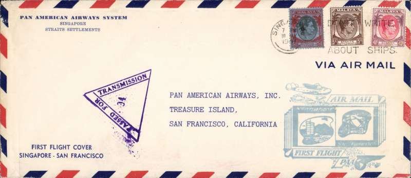 (Singapore) F/F Pan Am FAM 14 extension Singapore to San Francisco, bs, censored airmail cover, 21x11cm, franked 1$50, fine F/F cachet.
