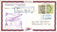(Chinese Macau) F/F FAM 14,  Macau to Hong Kong, bs 28/4, purple F/F cachet, blue par avion cachet, attractive airmail cover, Pan Am