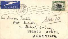 (South Africa) Airmail cover South Africa to Argentina, Cape Town to Buenos Aires, bs 18/6, via Marseilles 13/6, plain cover addressed to the Italian Embassy, FRANKED SOUTH AFRICA 5/-.
