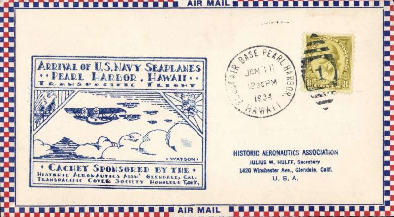 (Flying Boats) First US Navy Squadron Flight, cover commemorating  safe arrival at Pearl Harbour, Roessler small check airmail cover franked 8c canc fine strike 'FLEET AIR BASE PEARL HARBOUR/JAN 11  1934/HAWAII', large blue framed flight cachet. Also a newspaper picture showing the personnel of the six Consolidated flying boats which flew from San Francisco to Hawaii in 24hrs. Also a similar cover posted from USS Breese with cachets front and verso
