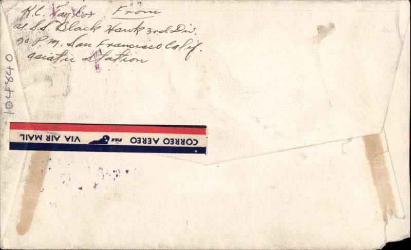 (United States) Airmail addressed to Washington franked 50c air canc fine strike 'USS BLACK HAWK/4 JUN/1941/ASIATIC STATION'', also fine strike framed magenta 'TransPacific/Air-Mail'. Black Hawk was a destroyer tender based at Pearl Harour then Okinawa.
