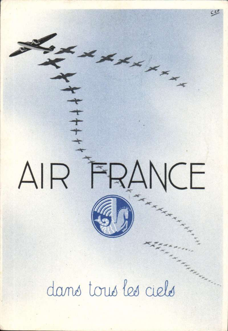 """(Ephemera) Air France Christmas/New Year reduced rate 'Air France/dans tous les ciels' greetings postcard franked 8c and flown Hanoi to Paris, bs 11/1, via Marseille 10/1, and bearing the text (in French) """" to benefit from the reduced rate this postcard must consist only of wishes, congratulations, thanks, compliments or condolences expressed in five words or less""""."""
